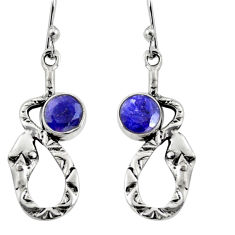 4.46cts natural blue sapphire 925 sterling silver snake earrings jewelry r9482