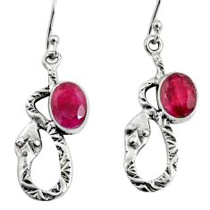 4.70cts natural red ruby 925 sterling silver snake earrings jewelry r9483