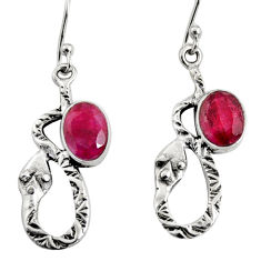 925 sterling silver 4.92cts natural red ruby snake earrings jewelry r9484