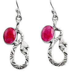 4.92cts natural red ruby 925 sterling silver snake earrings jewelry r9485