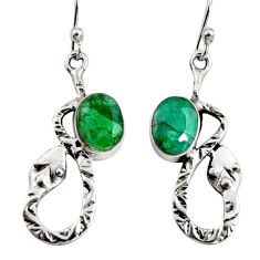 4.47cts natural green emerald 925 sterling silver snake earrings jewelry r9486