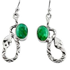 4.70cts natural green emerald 925 sterling silver snake earrings jewelry r9489