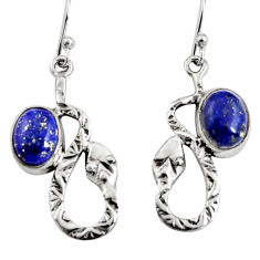 925 sterling silver 5.75cts natural blue lapis lazuli snake earrings r9493