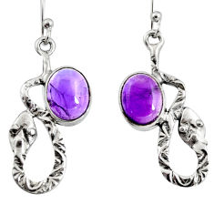 5.52cts natural purple amethyst 925 sterling silver snake earrings jewelry r9494