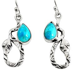 4.92cts blue arizona mohave turquoise 925 sterling silver snake earrings r9495