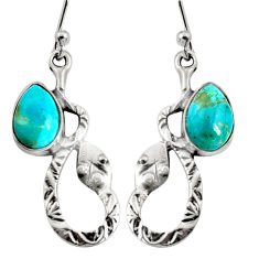 925 sterling silver 4.92cts blue arizona mohave turquoise snake earrings r9496