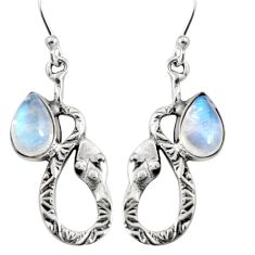 5.13cts natural rainbow moonstone 925 sterling silver snake earrings r9497