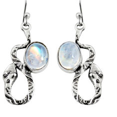 5.81cts natural rainbow moonstone 925 sterling silver snake earrings r9498