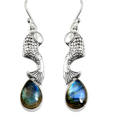 5.87cts natural blue labradorite 925 sterling silver fish earrings jewelry r9602