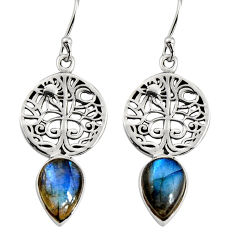 4.67cts natural blue labradorite 925 sterling silver tree of life earrings r9605