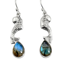5.53cts natural blue labradorite 925 sterling silver fish earrings jewelry r9606