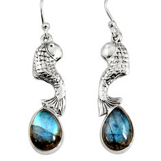 5.38cts natural blue labradorite 925 sterling silver fish earrings jewelry r9607