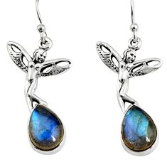 925 silver 5.16cts natural blue labradorite angel wings fairy earrings r9608