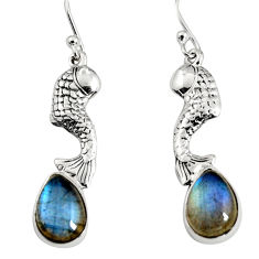 5.31cts natural blue labradorite 925 sterling silver fish earrings jewelry r9609