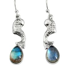5.28cts natural blue labradorite 925 sterling silver fish earrings jewelry r9611