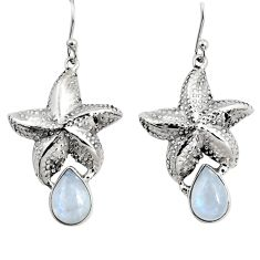 925 sterling silver 5.07cts natural rainbow moonstone star fish earrings r9612
