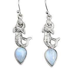 5.01cts natural rainbow moonstone 925 silver fairy mermaid earrings r9613