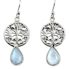 4.81cts natural rainbow moonstone 925 silver tree of life earrings r9614