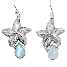 5.45cts natural rainbow moonstone 925 sterling silver star fish earrings r9618