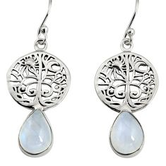 4.82cts natural rainbow moonstone 925 silver tree of life earrings r9619