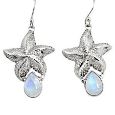 925 sterling silver 5.24cts natural rainbow moonstone star fish earrings r9620