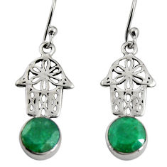 4.34cts natural green emerald 925 silver hand of god hamsa earrings r9621