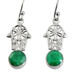 4.89cts natural green emerald 925 silver hand of god hamsa earrings r9625