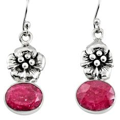 8.37cts natural red ruby 925 sterling silver flower earrings jewelry r9628