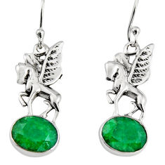 925 sterling silver 6.03cts natural green emerald unicorn earrings jewelry r9631