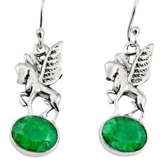 6.38cts natural green emerald 925 sterling silver unicorn earrings jewelry r9633