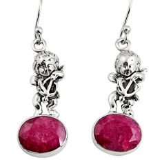 7.91cts natural red ruby 925 sterling silver angel earrings jewelry r9636