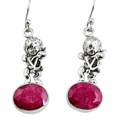 7.97cts natural red ruby 925 sterling silver angel earrings jewelry r9638