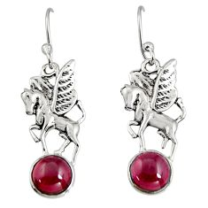 925 sterling silver 4.43cts natural red garnet unicorn earrings jewelry r9644