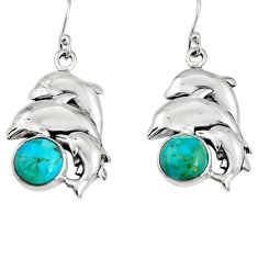 925 silver 9.92cts green arizona mohave turquoise dolphin earrings jewelry r9652