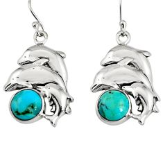 10.12cts green arizona mohave turquoise 925 silver dolphin earrings r9653