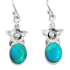 7.66cts green arizona mohave turquoise 925 sterling silver flower earrings r9657