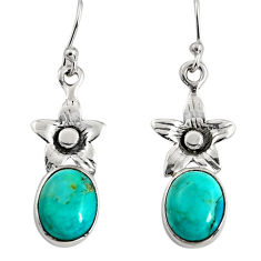925 sterling silver 7.50cts green arizona mohave turquoise flower earrings r9659