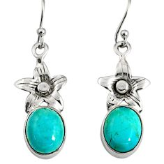 7.59cts green arizona mohave turquoise 925 sterling silver flower earrings r9660
