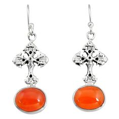 8.06cts natural orange cornelian (carnelian) 925 silver cross earrings r9668