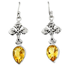 5.84cts natural yellow citrine 925 sterling silver holy cross earrings r9671