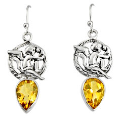 5.63cts natural yellow citrine 925 sterling silver angel earrings jewelry r9675