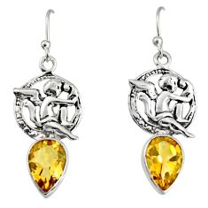 5.36cts natural yellow citrine 925 sterling silver angel earrings jewelry r9676