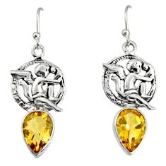 925 sterling silver 5.63cts natural yellow citrine angel earrings jewelry r9677