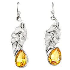 5.63cts natural yellow citrine 925 sterling silver deltoid leaf earrings r9678