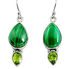 12.36cts natural green malachite (pilot's stone) 925 silver earrings r9686