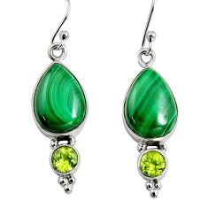 925 silver 12.03cts natural green malachite (pilot's stone) earrings r9687