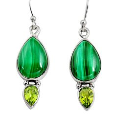 12.36cts natural green malachite (pilot's stone) silver dangle earrings r9688