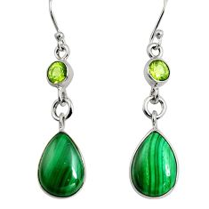 12.89cts natural green malachite (pilot's stone) 925 silver earrings r9689