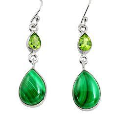 12.36cts natural green malachite (pilot's stone) silver dangle earrings r9690