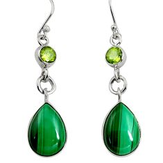925 silver 13.28cts natural green malachite (pilot's stone) earrings r9691